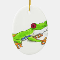 Red Eyed Tree Frog Double-Sided Oval Ceramic Christmas Ornament