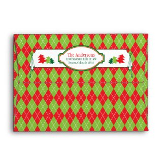 Red Green Argyle Ugly Christmas Sweater Party Xmas Envelopes