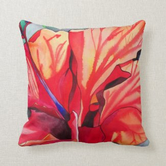 Red Hibiscus tropical floral Throw Pillow