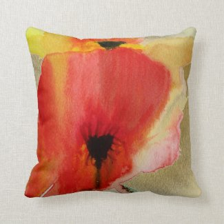 Red Poppy modern floral art Throw Pillow