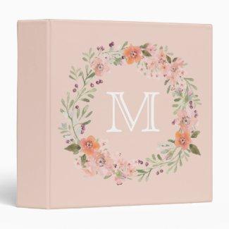 Romantic Peach Floral Monogram