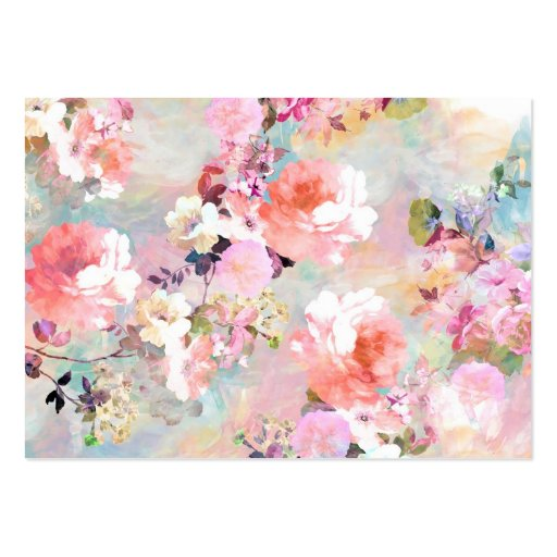 Romantic Pink Teal Watercolor Chic Floral Pattern Large Business Card