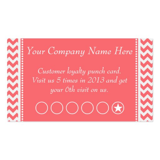 Rose Pink Chevron Discount Promotional Punch Card Business Card