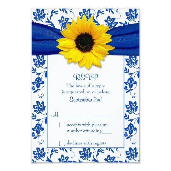 Royal Blue Damask Sunflower Wedding RSVP Card