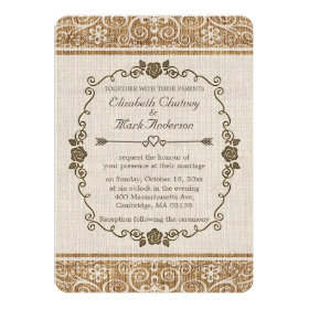 Rustic Burlap Lace Wedding 5x7 Paper Invitation Card