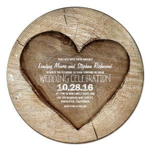Rustic carved tree wood heart wedding invitation