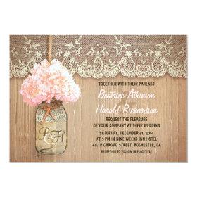 rustic country mason jar pink hydrangea wedding 5x7 paper invitation card