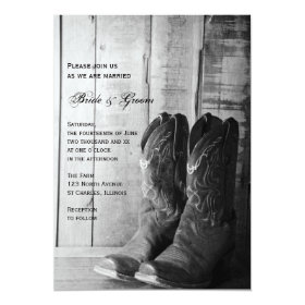 Rustic Cowboy Boots Country Western Wedding 5x7 Paper Invitation Card