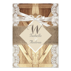 Rustic Door Wedding Beige White Lace Wood Burlap 5x7 Paper Invitation Card