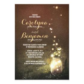 Rustic Garden Lights - Fireflies Mason Jar Wedding 5x7 Paper Invitation Card