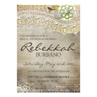 Rustic Lace Distressed Bridal Shower Invite