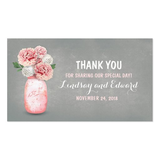 Rustic Pink Mason Jar DIY Wedding Favor Tag Business Card
