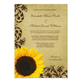 Rustic Sunflower Swirls Wedding 5x7 Paper Invitation Card