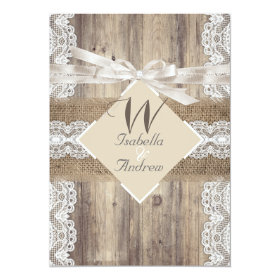 Rustic Wedding Beige White Lace Wood Burlap 2a 5x7 Paper Invitation Card