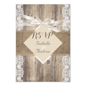 Rustic Wedding Beige White Lace Wood RSVP 3.5x5 Paper Invitation Card