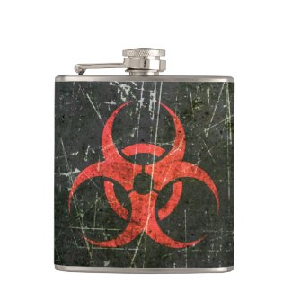 Scratched and Worn Red Biohazard Symbol Flasks