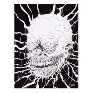 Severed Zombie Horror Head Art Post Cards