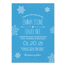 Simple Snowflakes & Snow Winter Wedding Invitation
