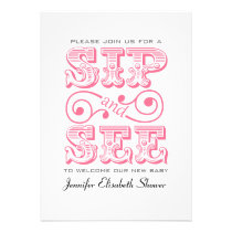 Sip And See Party Pink Baby Shower Invitation