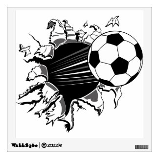 Soccer Ball Busting Out Wall Decals