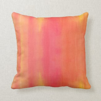 Sol-Yellow and orange ombre watercolor pattern Throw Pillows