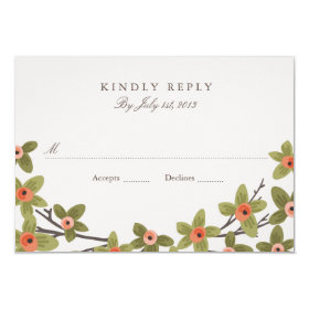 Spring Buds Wedding RSVP 3.5x5 Paper Invitation Card