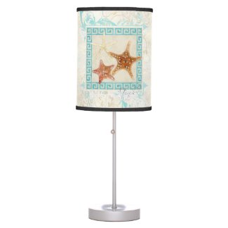 Starfish Sea Shells Ocean Greek Key Pattern Beach Table Lamp