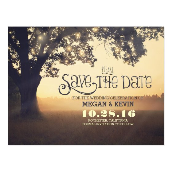 String lights tree romantic save the date postcard