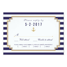 Stylish Nautical Wedding RSVP Card Meal Choice