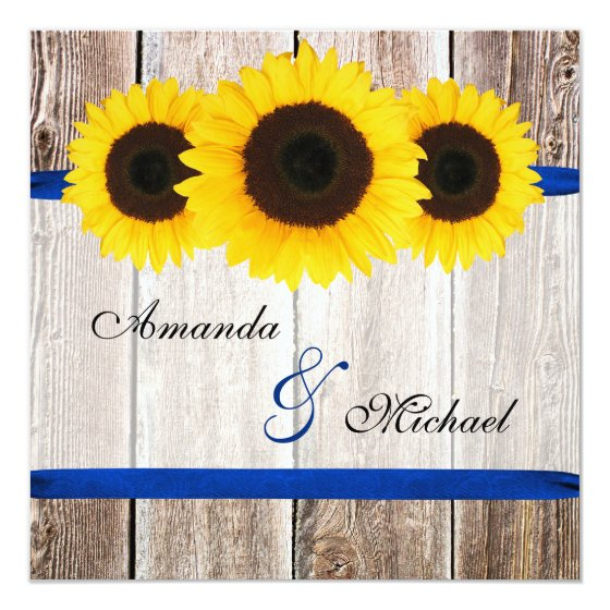 Sunflower Barn Wood Blue Ribbon Wedding Card