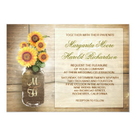 sunflower rustic mason jar cute wedding invitation