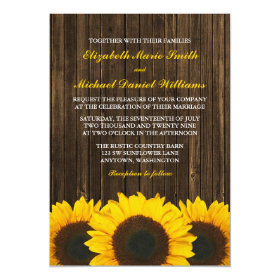 Sunflowers Barn Wood Wedding 5x7 Paper Invitation Card
