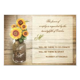 sunflowers in mason jar vintage wedding RSVP cards