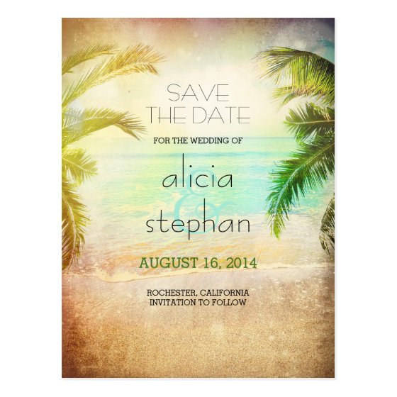 sunset beach vintage sea & palms save the date postcard