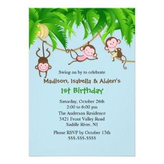 Sweet Monkeys Triplets Birthday Invitation