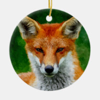 TCWC - Red Fox Watercolor Painting Custom Year Double-Sided Ceramic Round Christmas Ornament