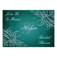 Teal Baroque Swirls Bridal Shower Teal Invitation