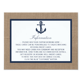 The Navy Anchor On Burlap Beach Wedding Collection 4.25x5.5 Paper Invitation Card
