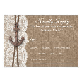 The Rustic Nautical Anchor Wedding Collection RSVP 3.5x5 Paper Invitation Card