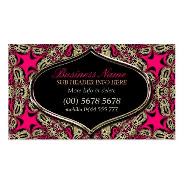 Tribal Diva Hot Pink Black & Gold Business Card