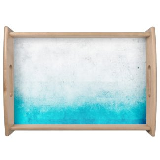Turquoise & White Ombre Distressed Watercolor Food Trays