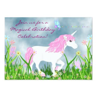 Unicorn and Butterflies Birthday Invitation