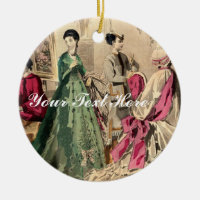 Victorian Dress With Pink Bow Double-Sided Ceramic Round Christmas Ornament