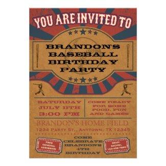 Vintage Baseball Birthday Party Invitation Custom Announcements