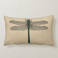 Vintage Dragonfly Illustration Throw Pillow