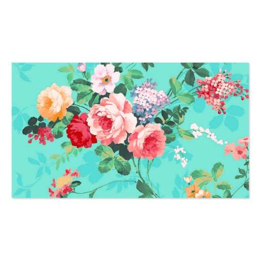 Vintage Elegant Pink Red Yellow Roses Pattern Business Card