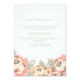 Vintage Floral Wedding Insert Card