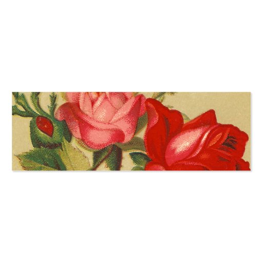 Vintage Pink and Red Roses Mini Business Card