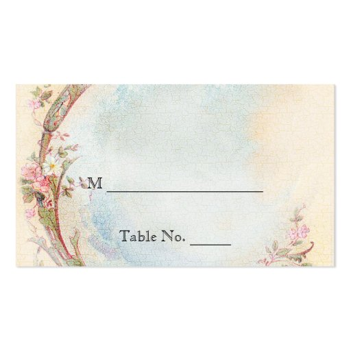 Vintage Pink Rose and Robin Wedding Place Cards Business Card