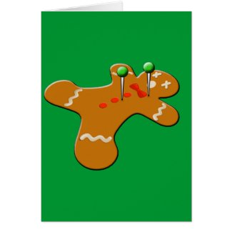Voodoo Gingerbread Man Christmas Humor Card